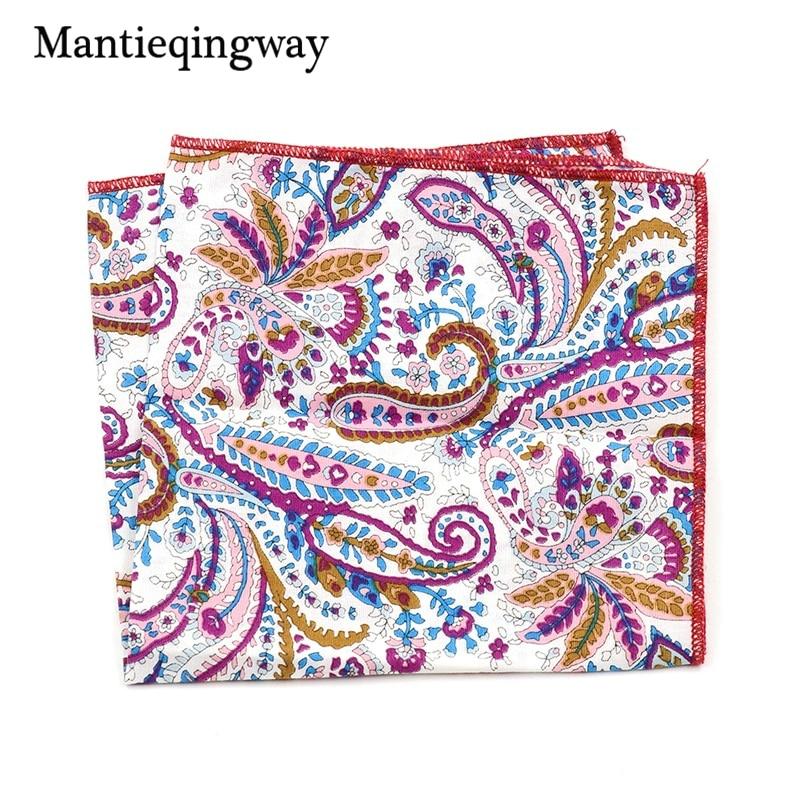 Mantieqingway Men's Jacquard Handkerchiefs Export Paisley Vintage Hanky Cotton Pocket Square Hankies Wedding Pocket Square Scarf