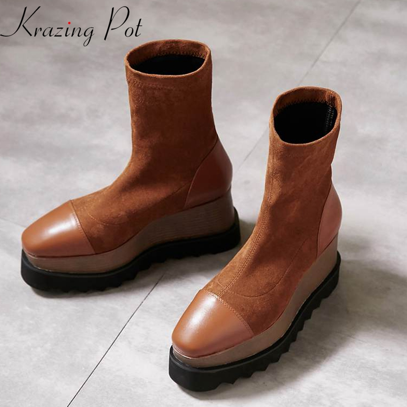 Krazing Pot new flannel square toe slip on fashion runway cow leather wedges Autumn Spring lazy style mid-calf stretch boots L82 krazing pot 2018 flannel solid peep toe slip on fashion runway lady superstar wedges autumn spring lazy style mid calf boots l33