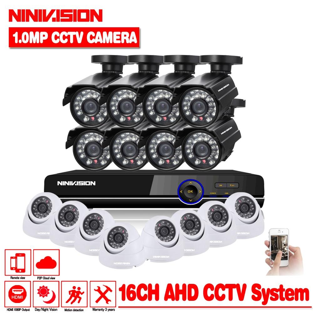 Home Security CCTV Système 16CH 720 p AHD CCTV DVR Système HD 16 pcs Caméras de VIDÉOSURVEILLANCE 1.0 Mégapixels Renforcée IR sécurité Caméra extérieure