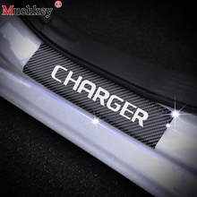 For Dodge Charger Door Sill Plate Carbon Fiber Car Sticker Decoration Scuff Vinyl Styling