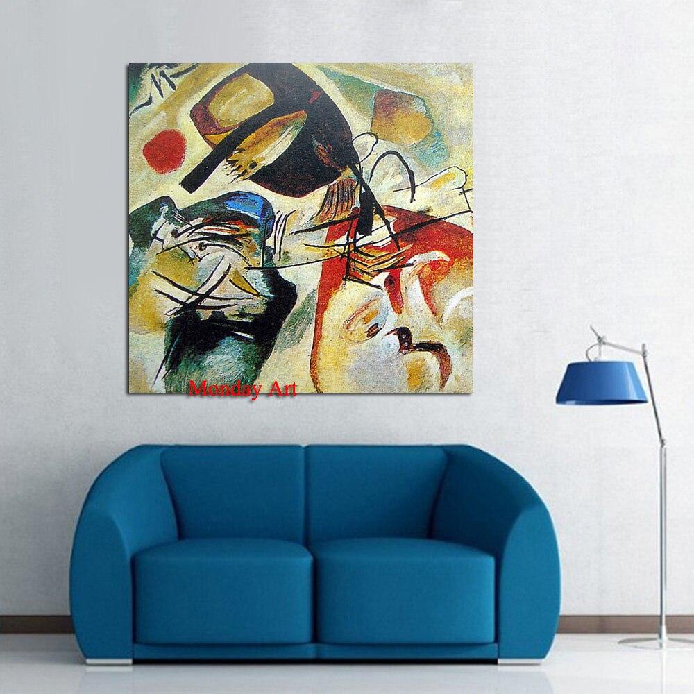 100% peint à la main mur Wassily Kandinsky nature morte abstraite peinture à l'huile dessin art sans cadre toile paysage photo paille