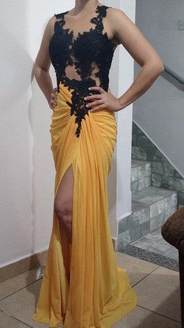 Gelb Schwarz Meerjungfrau Chiffon Illusion Sex Prom Kleid Mit Spitze ...