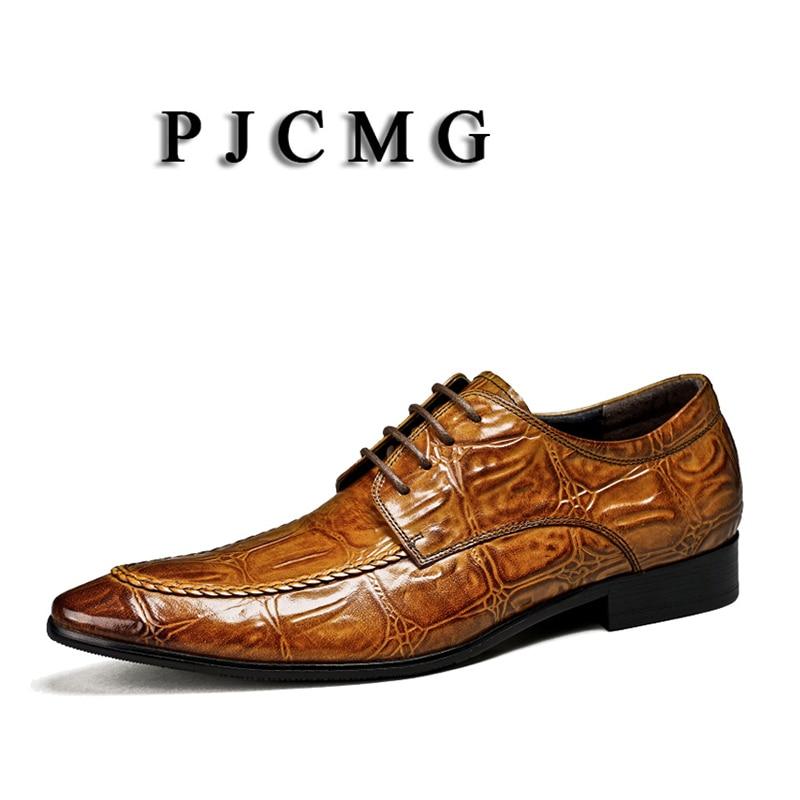 Genuino Mano Hombres Del Dedo Negocios Hecho Moda Cocodrilo Pie A puntiagudo Nueva Encaje marrón Zapatos Diseño brown Los Oxford Pjcmg De Black Vestido Cuero Negro WwRvOYqn7