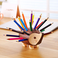 (Gift 24Pcs Color Pencil) Kawaii Wood Hedgehog Pens Holder Pencil Holders for Desk Large Office Accessories Supplies Stationery