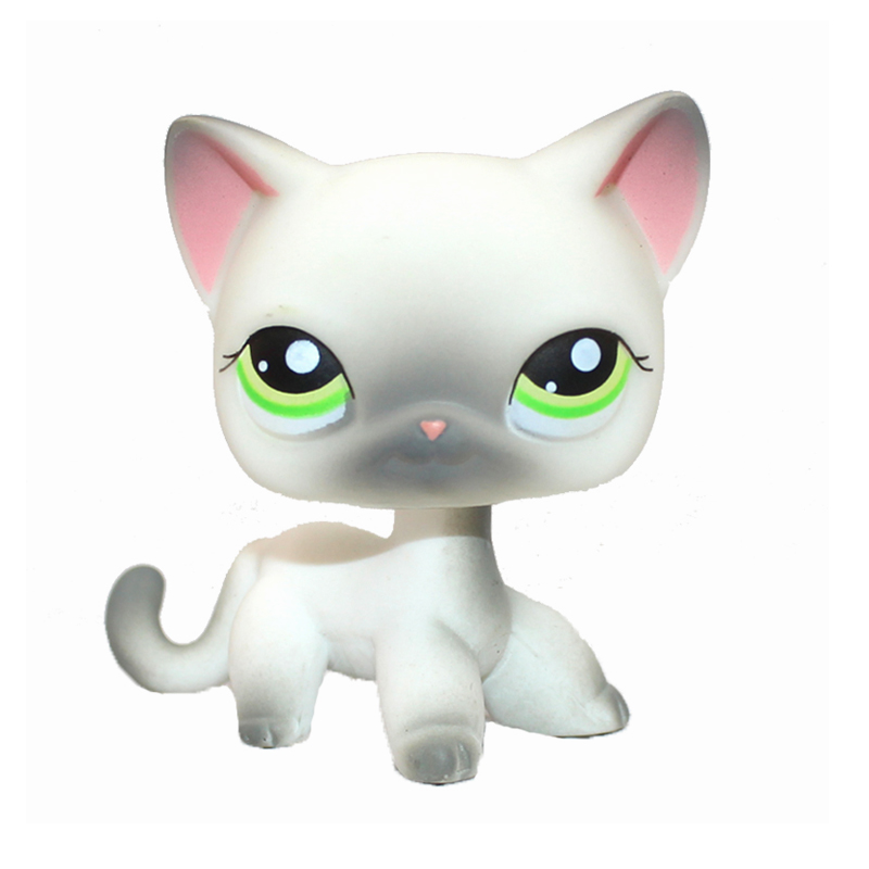 Rare Pet Shop Toys Standing #125 Mini Short Hair Cat Grey Siamese Kitty Collectible Gift Toys For Children