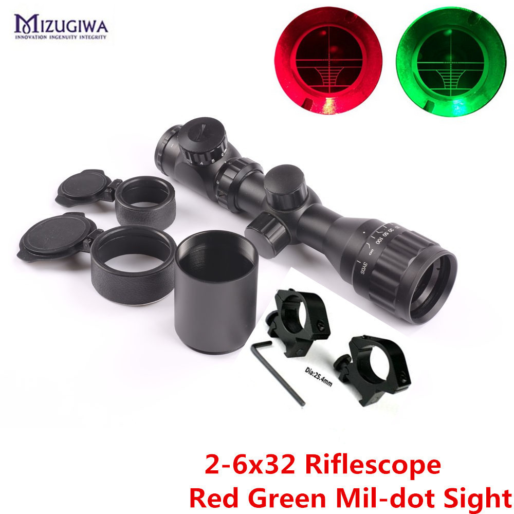 Tactical Reflex Riflescope 2-6x32 Red Green Mil-dot Optical Sight Air Rifle Scope Picatinny Rail Mount 20mm Hunting Caza tactical optics riflescope 4x42 red green dot sight scope fit picatinny rail mount 20mm hunting rifle scopes