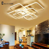 Square Modern LED Chandelier Home For Living Room Kitchen Bedroom Luminaire White Rings Led Ceiling Chandlelier