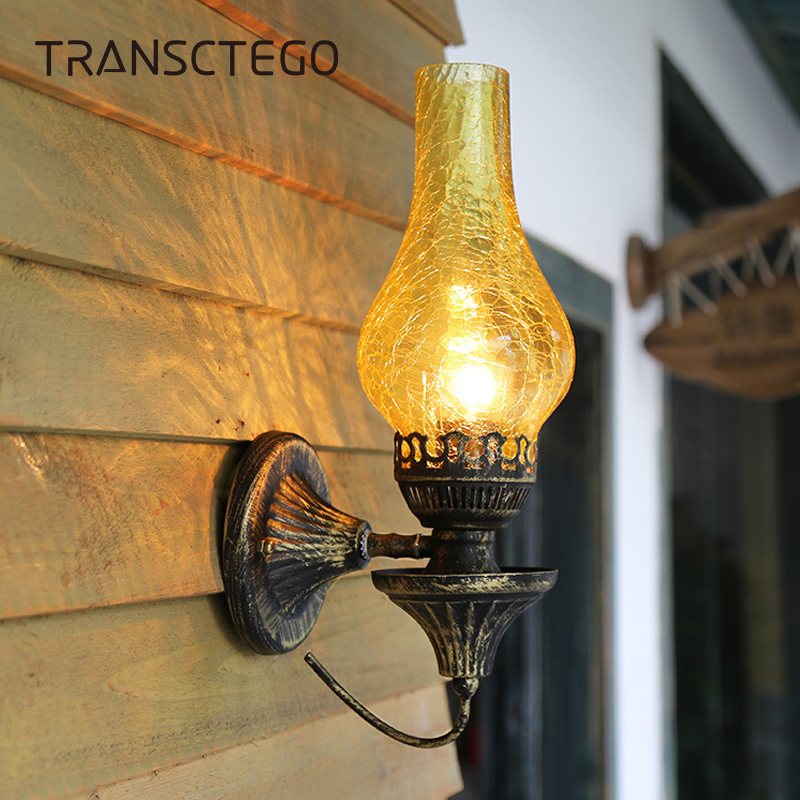 Retro Wall Lamp Nordic Glass Bedroom Bedside Kerosene Lamps Sconce Vintage Industrial Living Room Restaurant Bar Cafe Wall LightRetro Wall Lamp Nordic Glass Bedroom Bedside Kerosene Lamps Sconce Vintage Industrial Living Room Restaurant Bar Cafe Wall Light