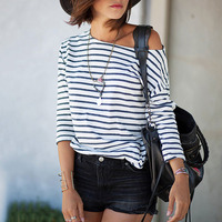 Hotsale 2016 Summer Women Blouse Shirt Strip One Shoulder Long Sleeve Blusas Tops Camisetas Mujer Slashe