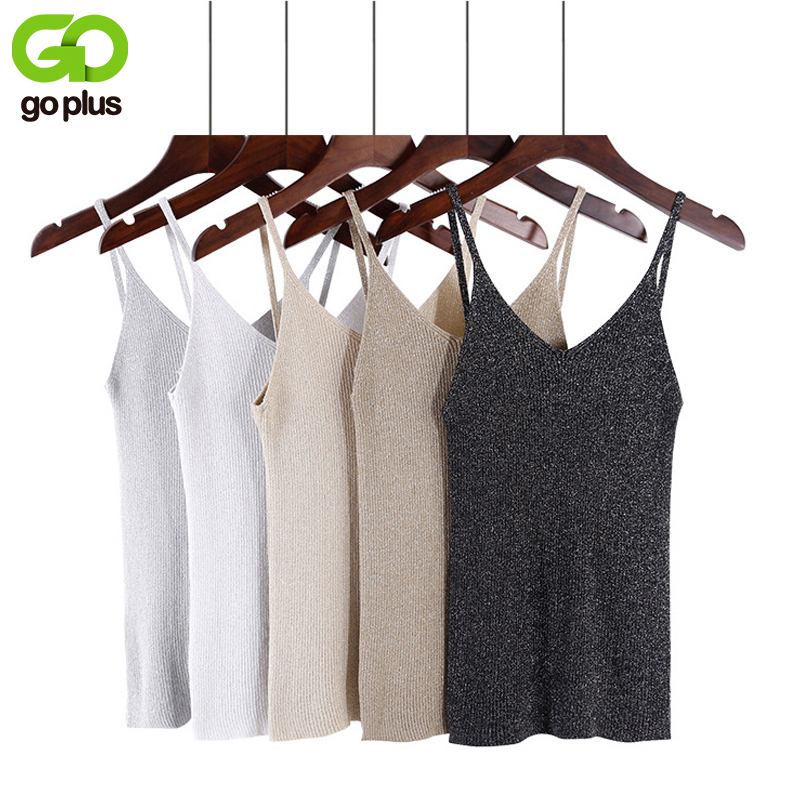 GOPLUS 2019 Spring Sexy Knitted   Tank     Top   Women Crop   top   Solid Silver V Neck T-shirt Female Sleeveless Vest Casual Camis Blouse