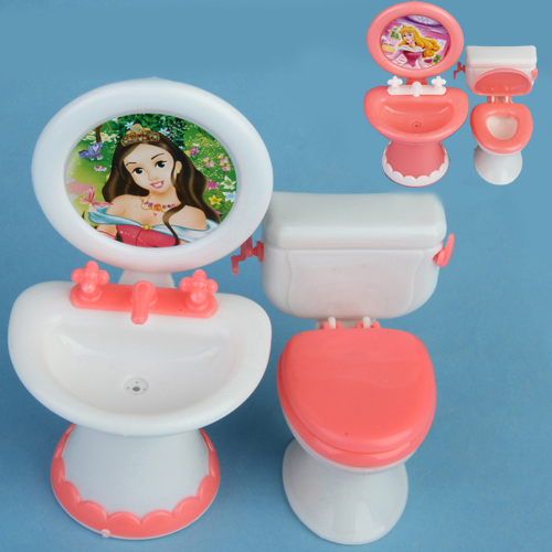 Doll House Dollhouse Furniture Bathroom Set Toilet And Sink Pretend Play  Classic Toys Furniture Toys Best