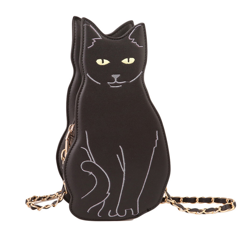 Cute Cat Handbag Vintage Chain Shoulder Bags Messenger Leather Handbags Cartoon Embroidery Women Crossbody
