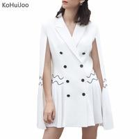 KoHuiJoo Red White Blazer Dress Women Double Breasted Fashion Runway Pleated Short Cape Dresses Cloak Sleeve Workwear Dress