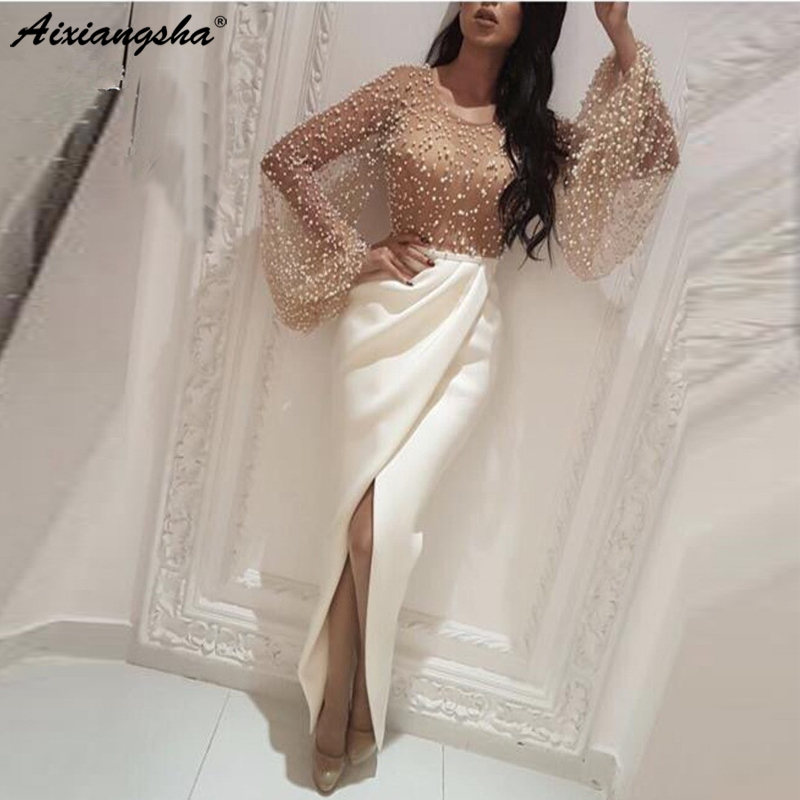 Sexy Muslim Evening Dresses 2019 Sheath Long Sleeves Pearls Slit Islamic Dubai Saudi Arabic Long Elegant
