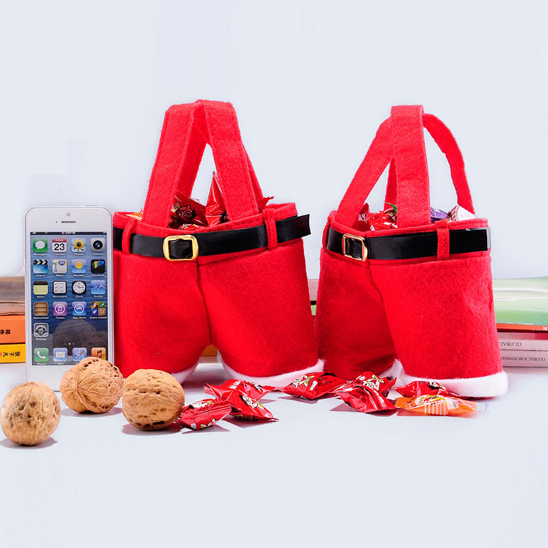 Fashion Christmas Candy Gift Handbag Party Decoration Red Pants Trouser Bag In Bags Wring Supplies From Home Garden On