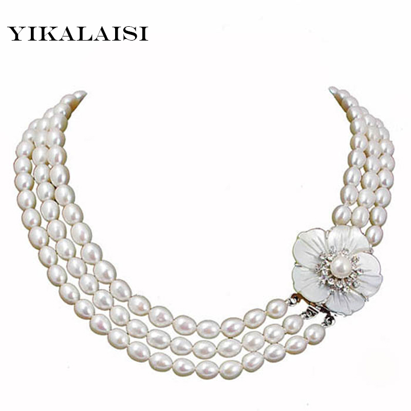 YIKALAISI 2017 Natural Freshwater Pearl Necklaces Customized Length Pearl Fashion Cultured Genuine Pearls Choker Women's Gifts chran new fashion luxury vintage style jewellery multi layer string twist faux pearl choker necklaces&pendants gifts