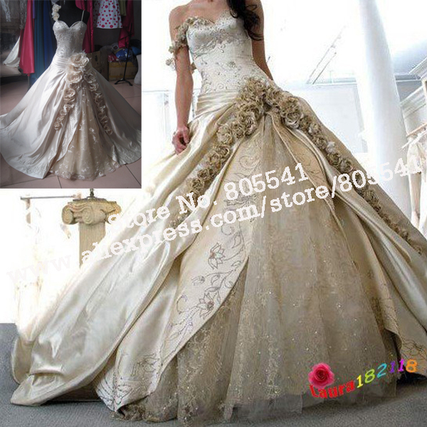 Free Shipping Cheap Luxury Off shoulder Ball Gown Lace&Rose Flower ...