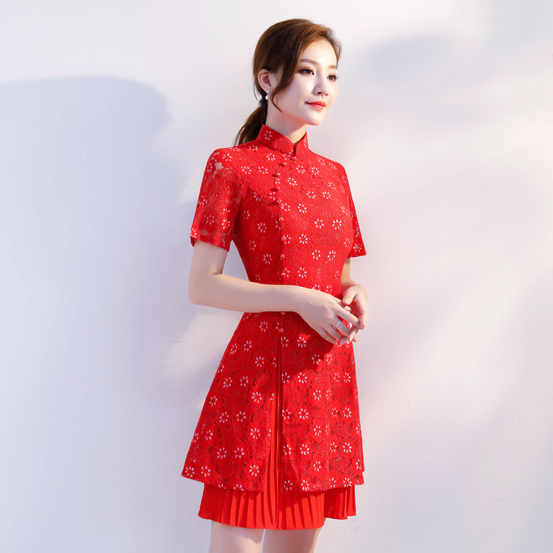 Orientales Traditionnelle Nouvelle Robes M Arrivée Taille Chinois 8213 8213 Court Robe 8213 Chine Qipao Sexy Cheongsam 3xl Femmes Broderie Dentelle Chinoise TPZiukXO