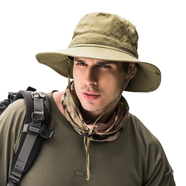 6bee2c4aa92ac Summer Fishing Hat Man Women Wide Breathable Mesh Fishing Cap Beach Hats  Sun Men