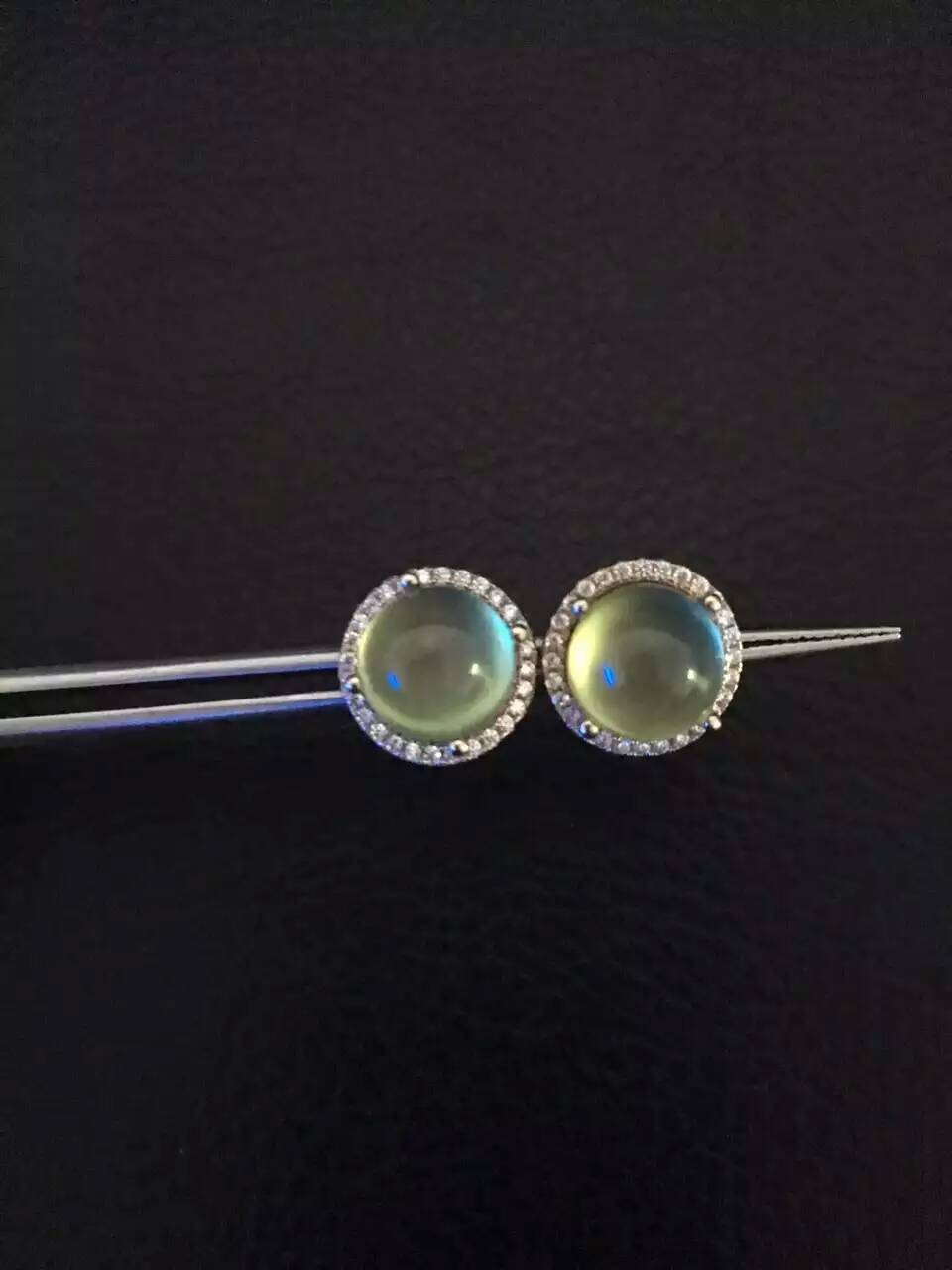 natural prehnite stone stud earrings S925 silver natural gemstone earrings round for girl women s party
