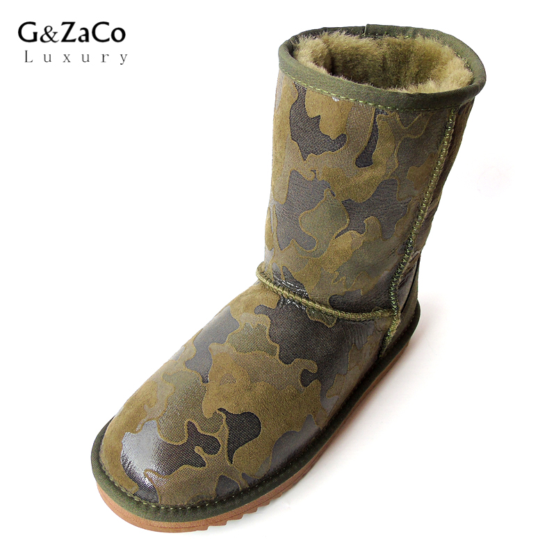 G&ZaCo Luxury Winter Sheepskin Snow Boots for Women Natural Sheep Fur Mid Calf Boots Cotton Shoes Non-skid Camouflage Wool Boots
