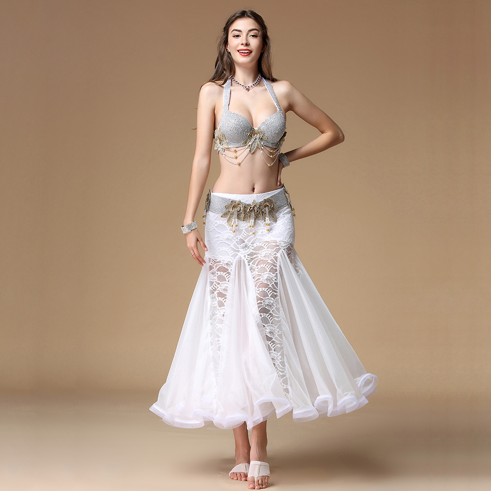 Stage Performance Women Dance Wear Egyptian Diamonds Outfit Floral Lace Sparkling Belly Dance Costume Set Bra
