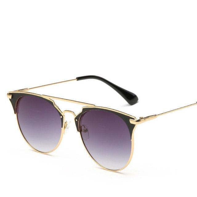 High Quality Cat Eye Sunglasses Women Brand Designer Pink Vintage Round Sun Glasses For Women Female Lady Sunglass Mirror Shades 2