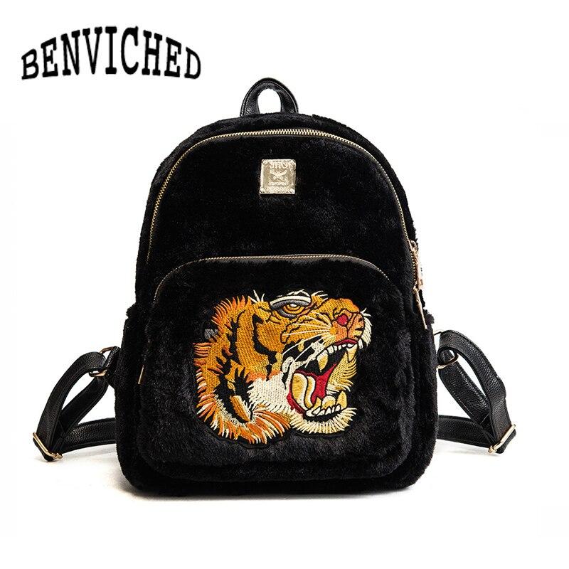 BENVICHED 2018 New Winter Flannel Women Backpack Tiger Embroidery Backpacks School Bags For Teenager Shoulder Bag mochila L083 nohoo tiger type neoprene backpacks