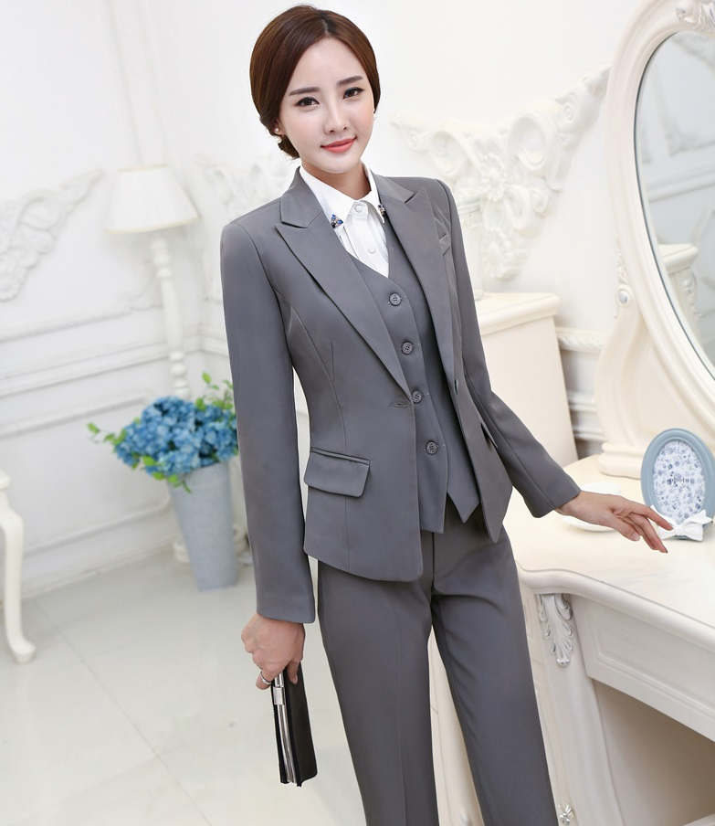 Perfect A Womens Tahari Pinstripe Pant Suit Suit Is Grey With White Pinstripes Suit Jacket Has Notched Peak Lapels, Besom Pockets, And A Single Button Suit Pants Are Flat Front With Crease And A Wide Leg
