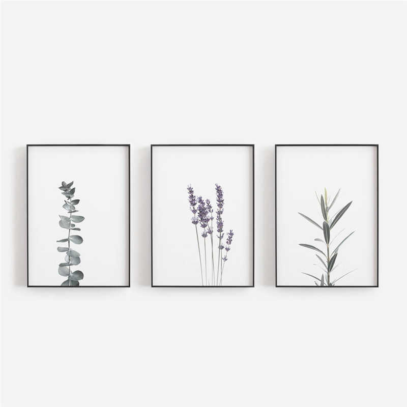 Watercolour Lavender Canvas Art Print And Poster , Botanical Canvas Painting Farmhouse Decor Eucalyptus Art Prints Wall Decor