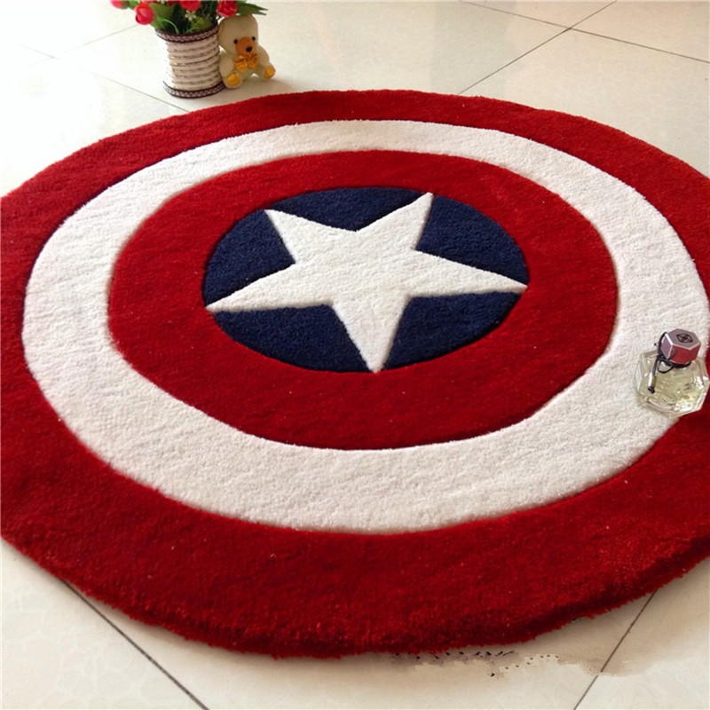 Captain America bouclier Simple moderne tapis rond dessin animé enfants salon table basse chambre tapis lit couverture tapis - 3