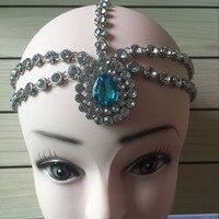 Hecho a mano Kundan piedras coloridas del pelo cadena Grecian estilo corazón celada head joyería