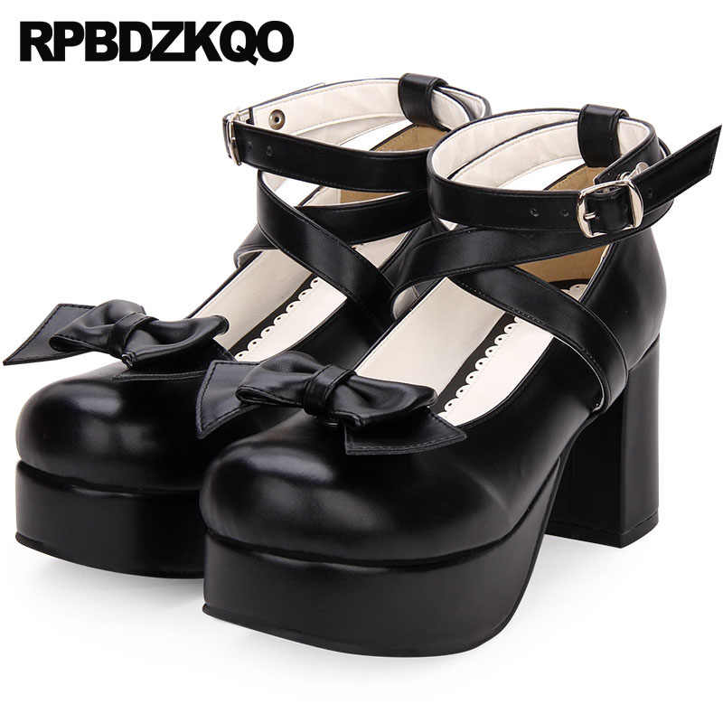 dd5154bcb9 Plus Size Thick Round Toe 12 44 Kawaii High Heels 11 43 Crossdresser Ankle  Strap Pumps