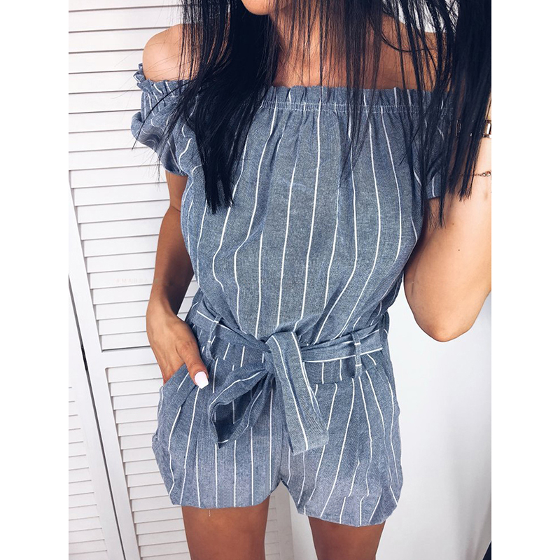 Fashion Striped Bow Tie Rompers Womnes Sexy Slash Neck   Jumpsuits   Summer Casual Shorts Jumper Overalls WS9383U