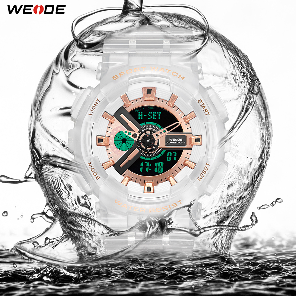 WEIDE Military Men Sport Digital Auto Date Week Chronograph 50M Waterproof White Alloy Case Wristwatch Clock Relogios Masculino