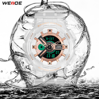 WEIDE Military Men Sport Digital Auto Date Week Chronograph 50M Waterproof White Alloy Case Wristwatch Clock Relogios Masculino
