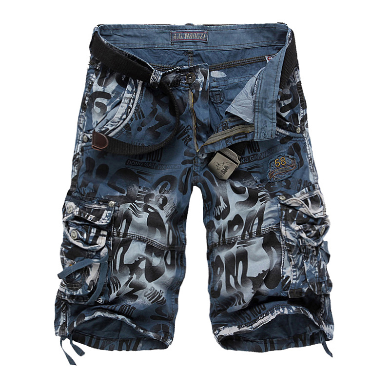 Shorts Men Military Large-Size Multi-Pocket Summer Cotton Casual's Cropped