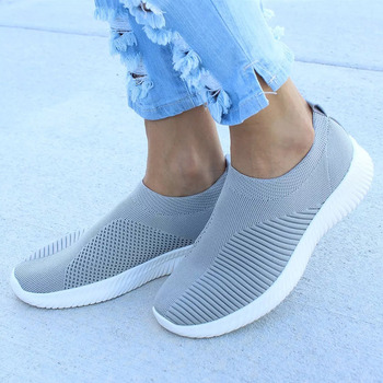 Women Shoes Knitting Sock Sneakers Women Spring Summer Slip On Flat Shoes Women Plus Size Loafers Flats Walking krasovki Famela 9