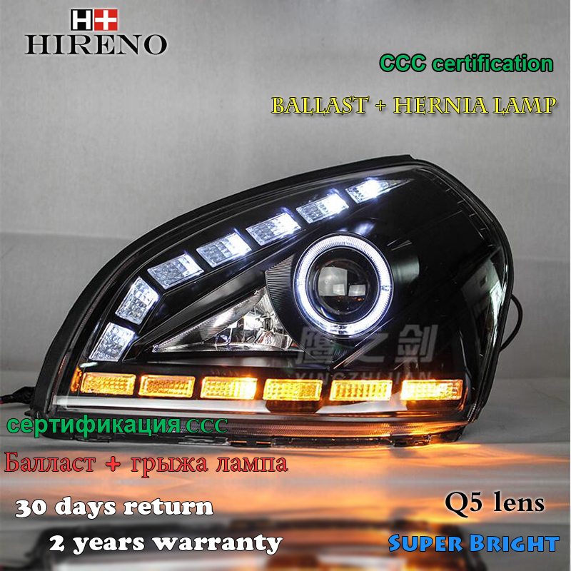 Hireno Headlamp for 2005-2008 Hyundai Tucson Headlight Assembly LED DRL Angel Lens Double Beam HID Xenon 2pcs hireno modified headlamp for kia cerato 2006 2008 headlight assembly car styling angel lens beam hid xenon 2 pcs