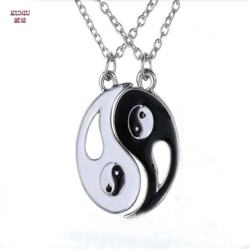 KUNIU Charm Lovers Suspension Necklace Hot Yin Yang Necklace Pendant Couple Long Necklace Chain Choker For Women Men Jewelry