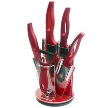 XYJ Marke Zubehör Set Peeler + Rot Küchenmesser Halter + 3 Zoll Schäl 4 Zoll Utility 5 Zoll Schneiden 6 Zoll Chef Keramik messer