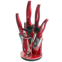XYJ Brand Accessories Set Peeler Red Kitchen Knife Holder 3 Inch Paring 4 Inch Utility 5