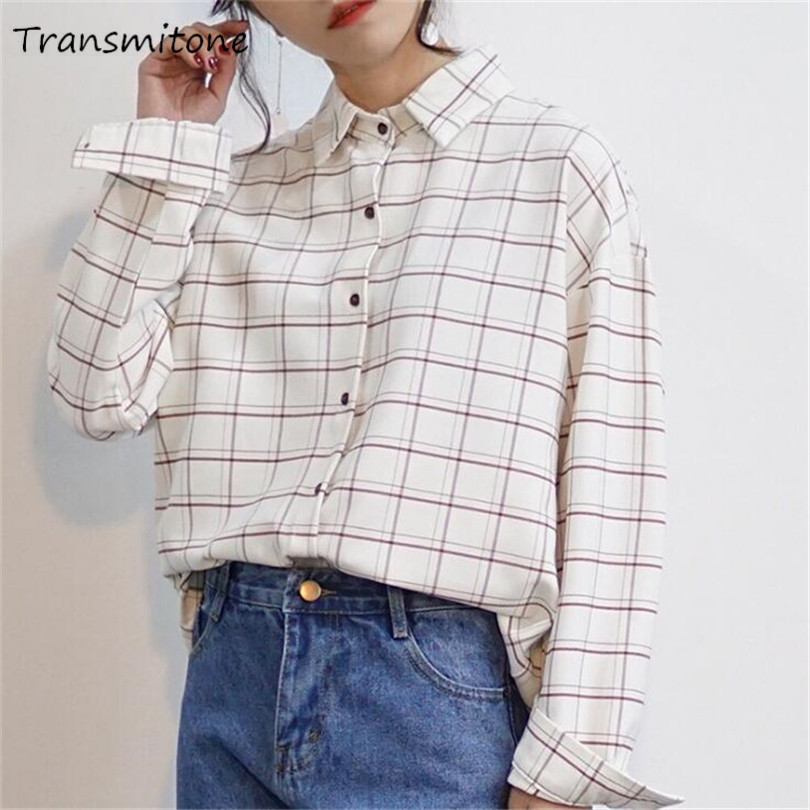 High Quality Cotton Office   Blouses     Shirt   2019 Spring female long sleeve Casual women   Blouse     shirt   Loose Plaid College lady tops