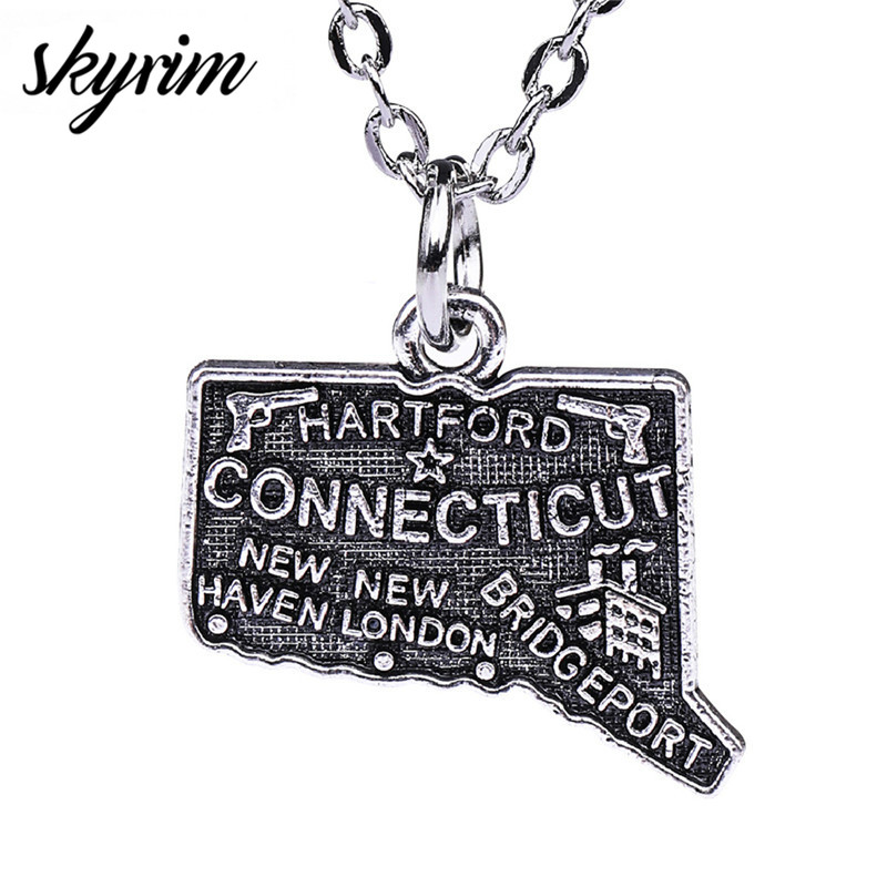 Skyrim North America Jewelry Accessories Findings Hartford Connecticut USA City Charm Antique Silver Plated Map Pendant Necklace image