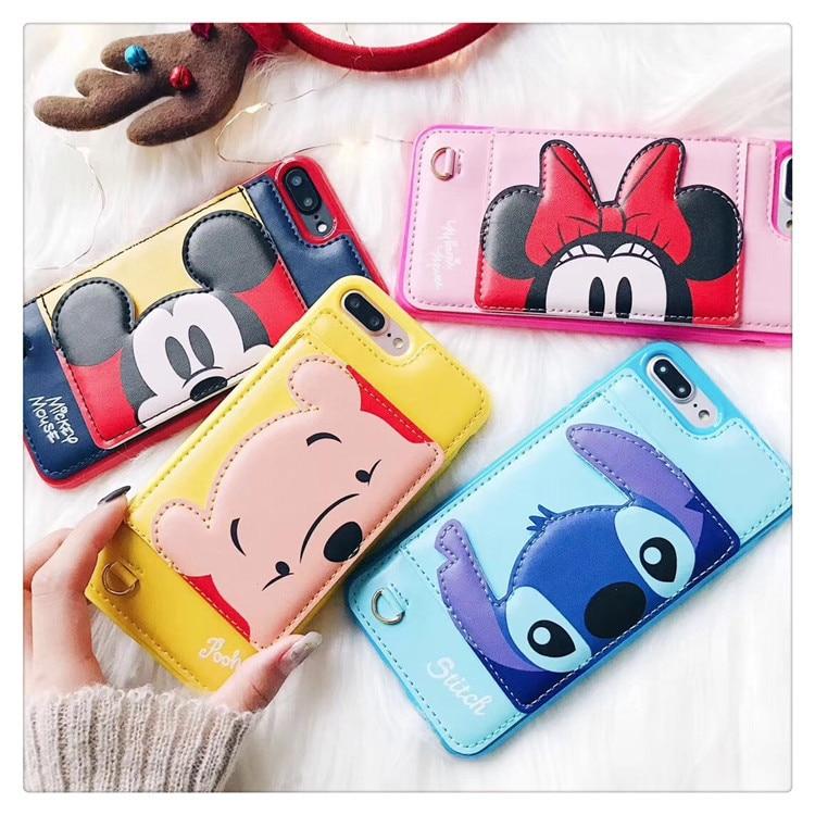 New 3D Staffa Stitch Minnie Mickey caso della copertura del cuoio Del Raccoglitore per il iphone 6 S plus 7 7 più 8 8 plus X Winnie carta di Attesa del telefono casi