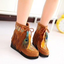 Indian Style Retro Fringe Women Tassel Boots Flock Chunky Feather Women Ankle Short Boots Tassels Big Size Shoes Plus Size 34-39
