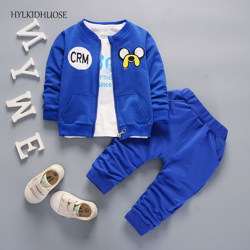 HYLKIDHUOSE 2017 Autumn Children Clothes Sets Baby Boys Girls Suits Cartoon Cotton Infant Coats+T Shirt+Pants Casual Kids Suits