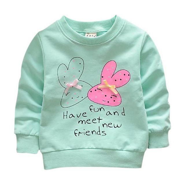 Для мальчиков Обувь для девочек осень пот Рубашки для мальчиков младенческой Обувь для мальчиков с длинным рукавом Детские футболки 2018 Весна Дети Кролик мультфильм толстовка