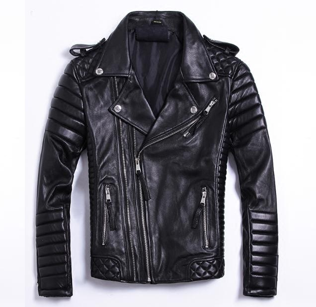 Coat Sheepskin Motor-Style Jacket.fashion Soft For Man Men's Genuine-Leather Slim Size-Brand