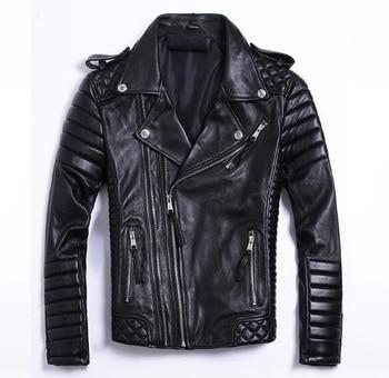 Free shipping.Plus size Brand soft sheepskin leather coat for man,men's genuine Leather jacket.fashion slim motor clothe - discount item  15% OFF Coats & Jackets